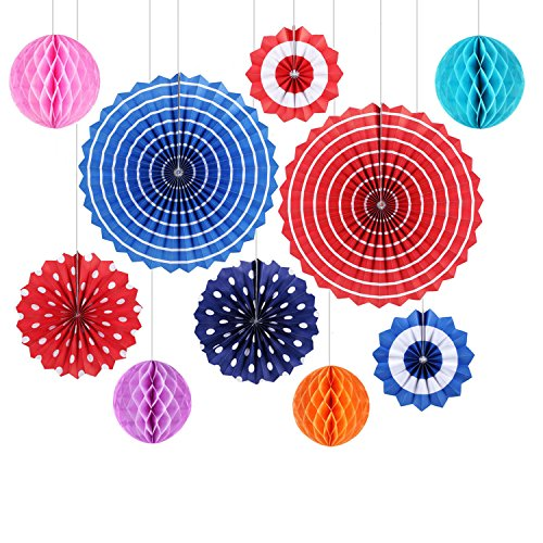 Paper Decoration GoFriend 10Pcs Colorful Fiesta Paper Fans Tissue Paper Honeycomb Balls Hanging Decoration for Birthday Wedding Carnival Baby Shower Home Party Supplies Favors Red Blue (Vintage Carnival Decorations)