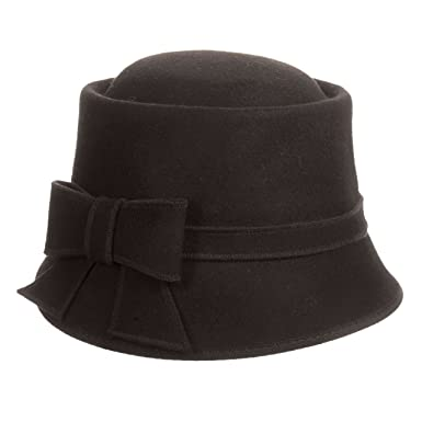 34fea9b6b9821 SCALA Wool Felt Cloche with Bow HAT (Black) at Amazon Women s Clothing  store
