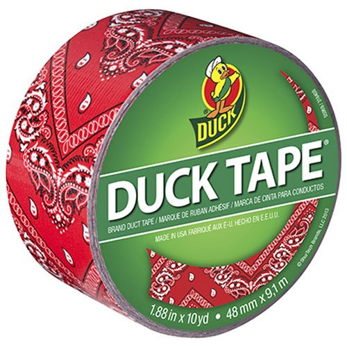 Duck Brand 283050 Printed Duct Tape, Red Bandana, 1.88 Inches x 10 Yards, Single Roll