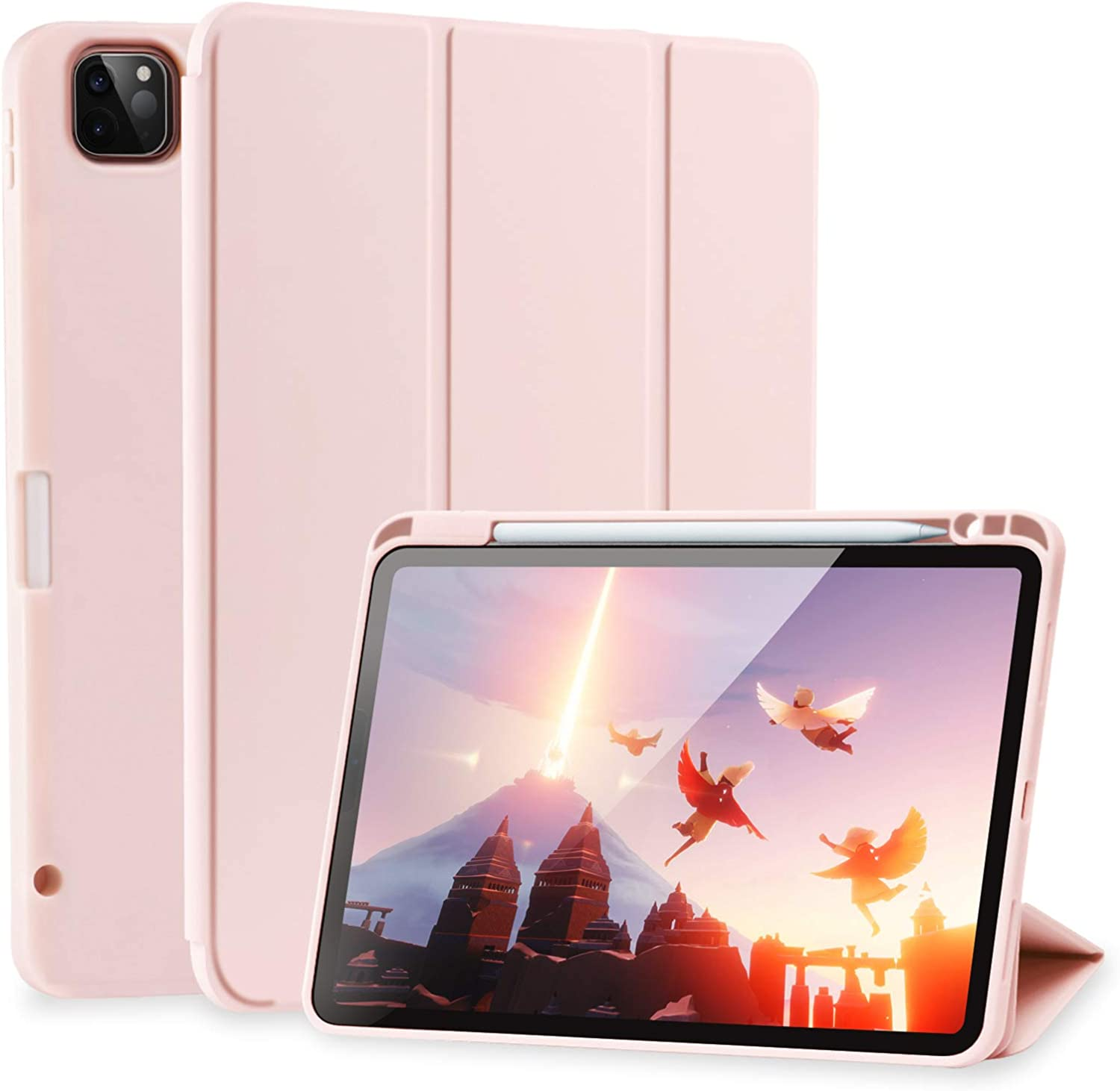 SIWENGDE Case for iPad Pro 12.9 case 4th Generation 2020 Support Apple 2nd Pencil Charging & Pair, Slim Lightweight Trifold Stand Smart Protective Case Cover for Kids (Rose Pink)