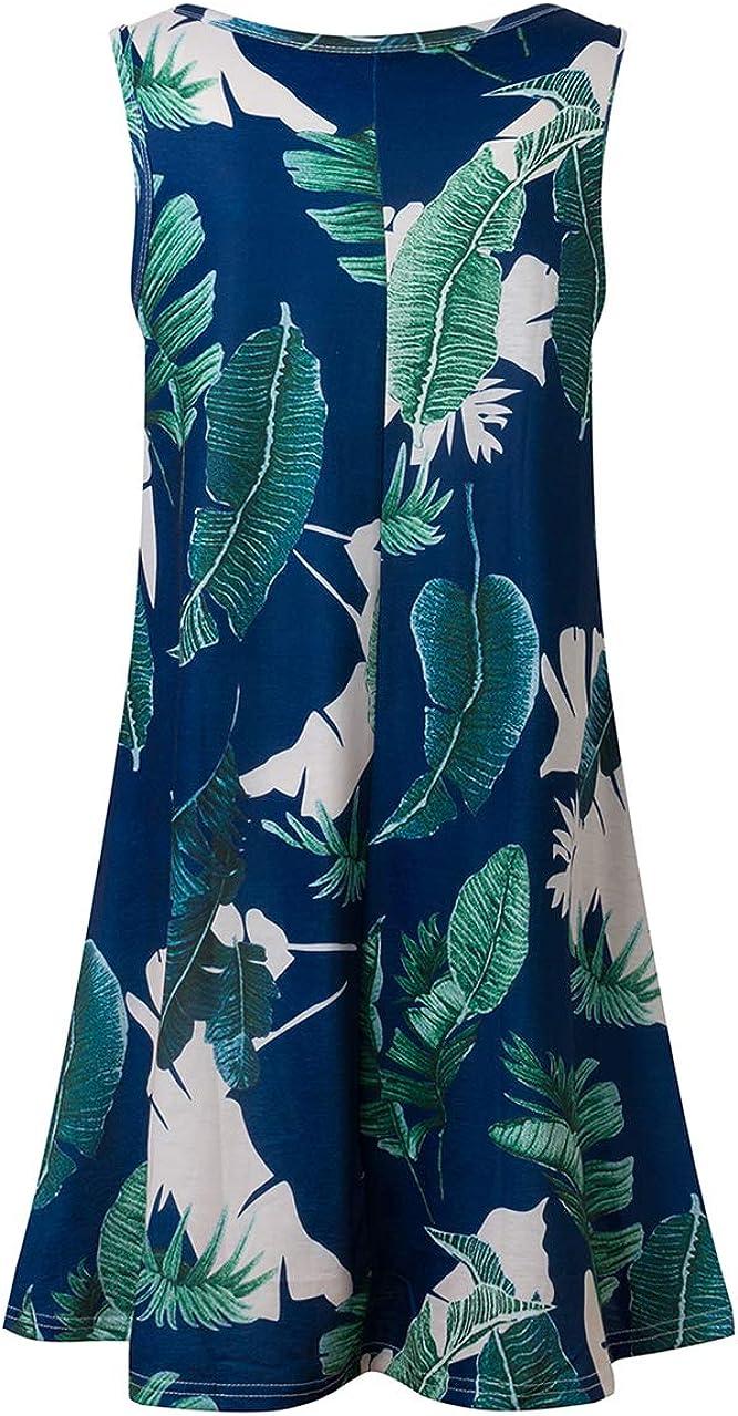 OMZIN Women Sleeveless Swing Dress Summer Flared Tank Dress Cotton Skater Mini Dress with Pockets