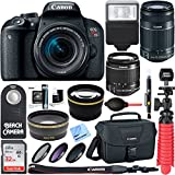 Canon EOS Rebel T7i DSLR Camera + EF-S 18-55mm IS STM & 55-250mm IS II Lens + 64GB Extreme SDXC Memory UHS-I Card + Accessory Bundle (2 Lens Kit 18-55mm & 55-250mm)