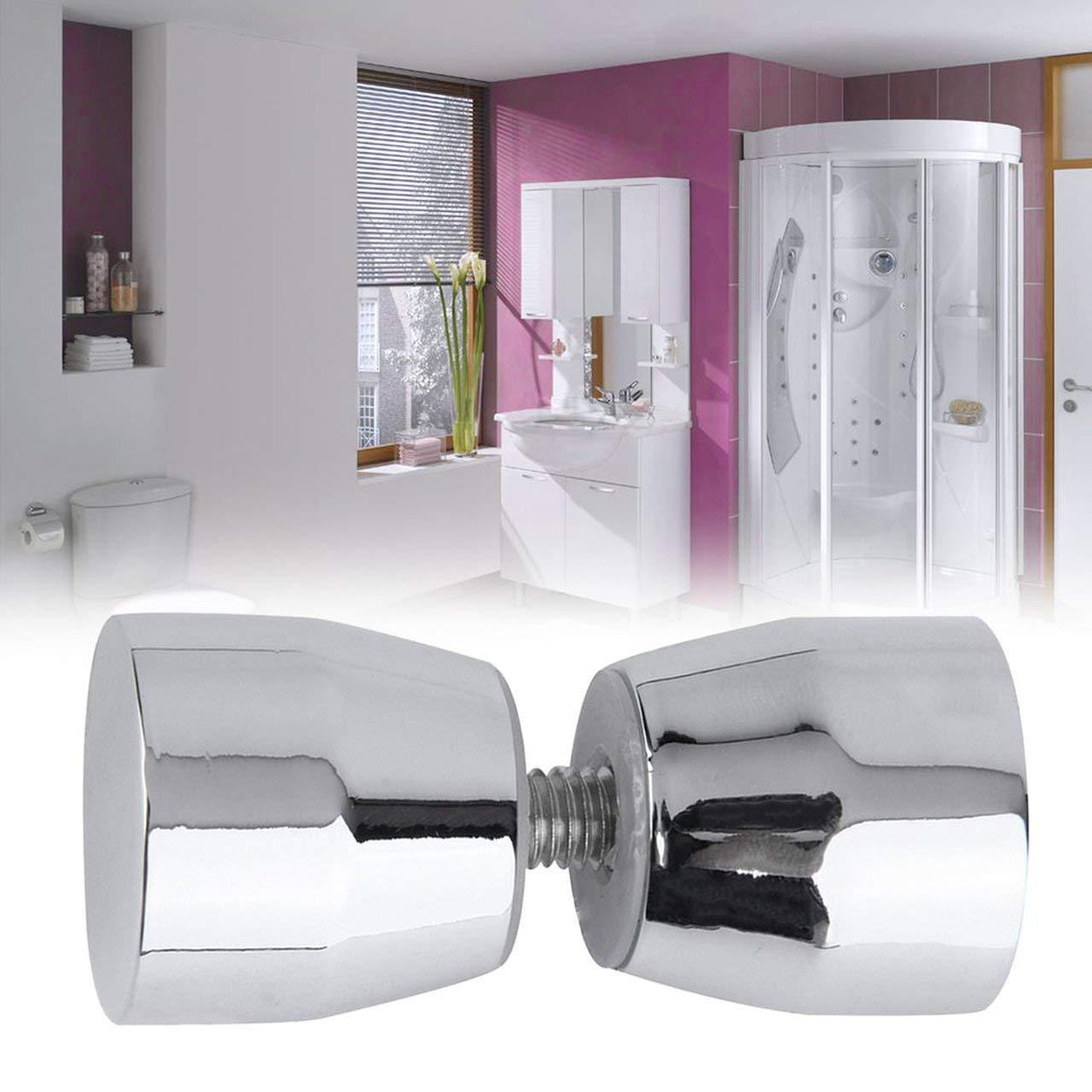 argent Jasnyfall Poign/ée solide pour porte de douche Bouton de commande chrom/é en forme de c/ône en forme d/él/ément de d/écoration /él/égante pour la salle de bain
