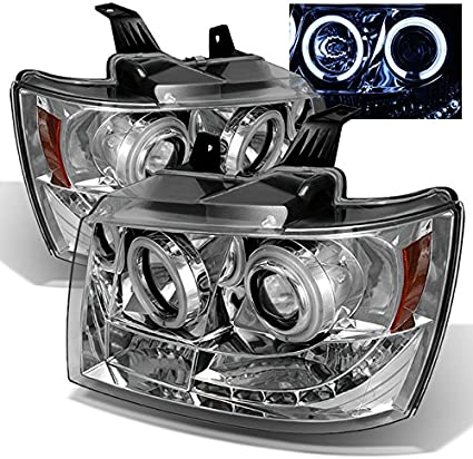 FOR 2007-2014 CHEVY SILVERADO DUAL LED DRL PROJECTOR HEADLIGHT//LAMP CHROME//CLEAR