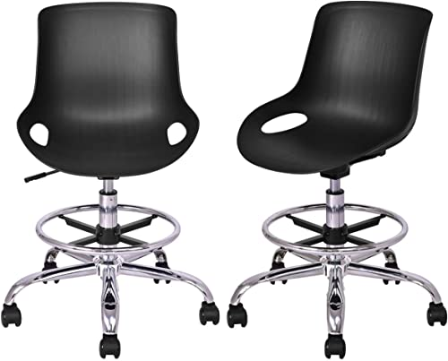 Giantex Set of 2 Office Task Chair Without Arms Hydraulic Swivel Height Adjustable