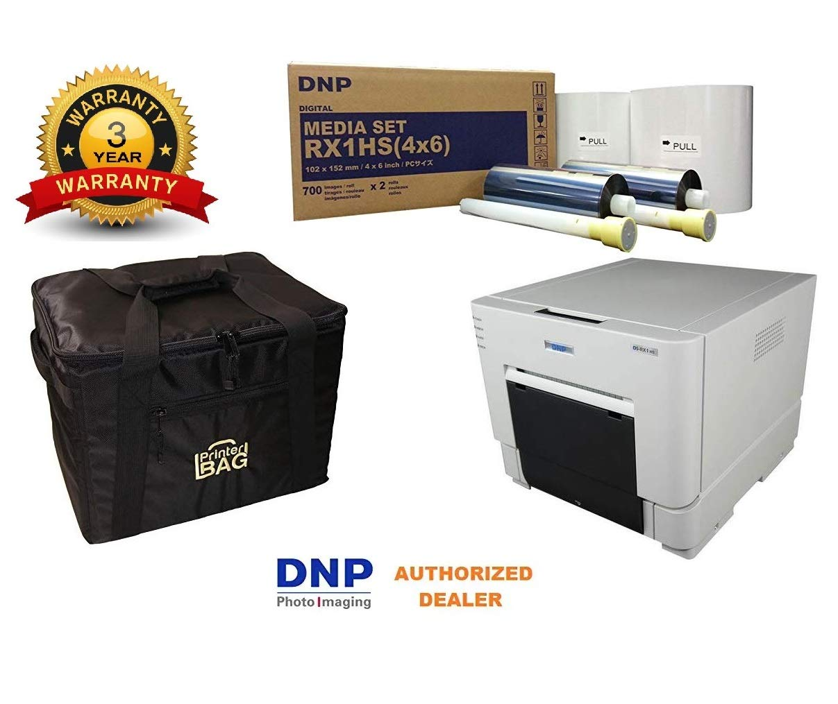 DNP DS-RX1HS Photo Printer.. BUNDLE DEAL. Comes with our exclusive CARRYING CASE and 1 BOX OF 4X6'' media kit paper & ribbon (1400 prints). THREE YEAR WARRANTY INCLUDED!!! Authorized Dealer. by DNP