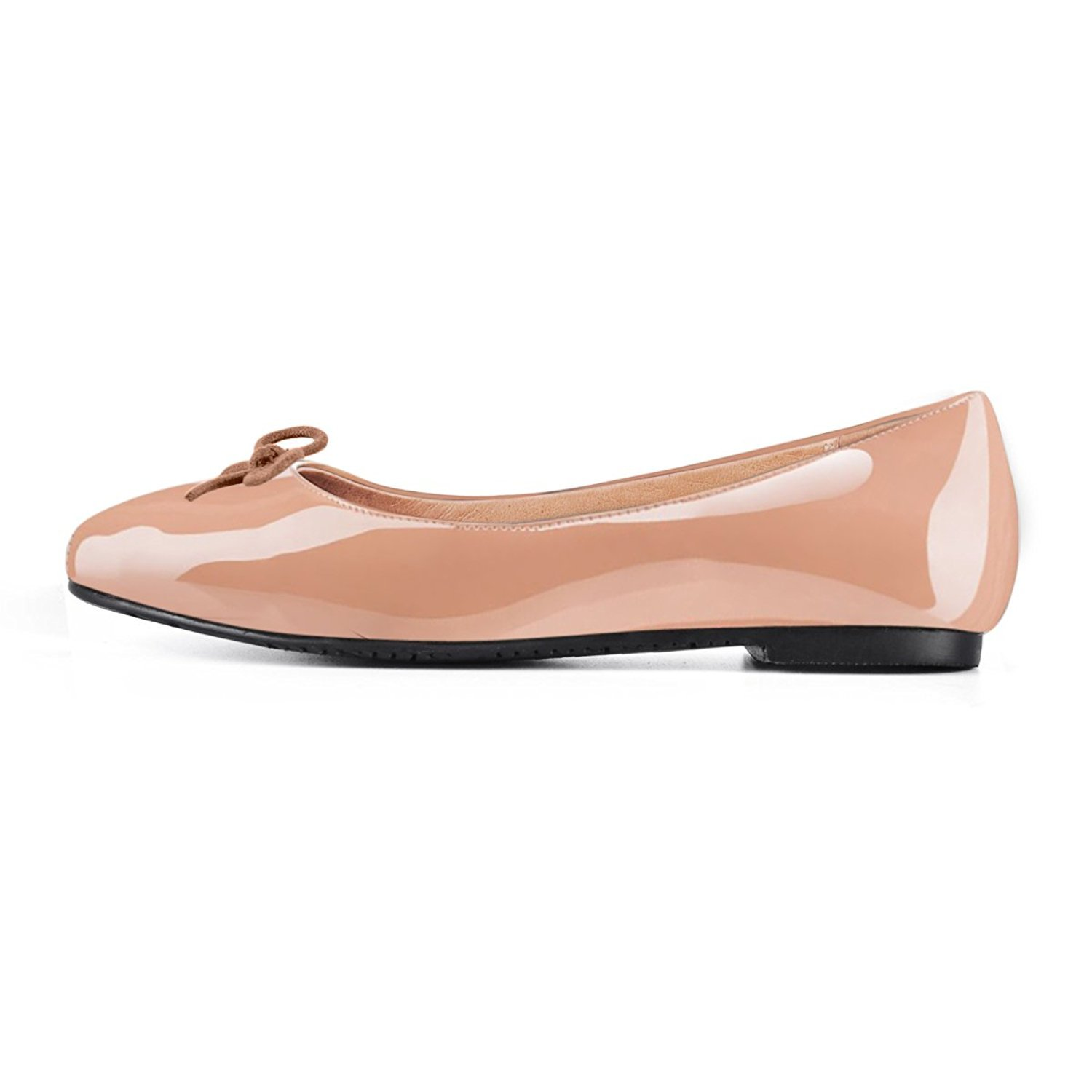 Joogo Women Round Toe Ballet Flats with Bow Tie Slip On Casual Comfortable Shoes B0788FKB96 12 B(M) US|Nude