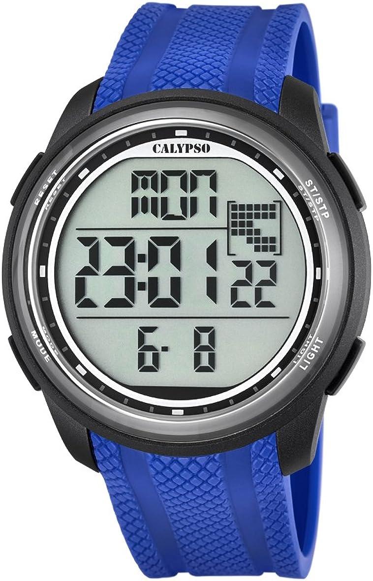 Calypso–Reloj Digital Unisex con LCD Pantalla Digital Esfera Azul y Correa de plástico k5704/3