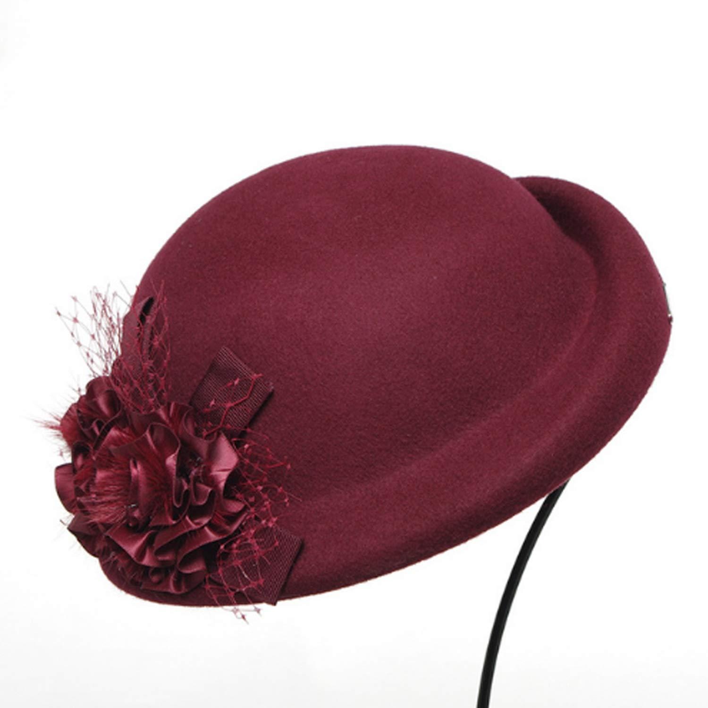 Chengxin Cappelli da Cowboy e da Cupola, Cappello Autunno & Inverno Fiore Beretta Cappello in Lana Elegante Cappuccio Superiore (Colore   Red, Dimensione   L)