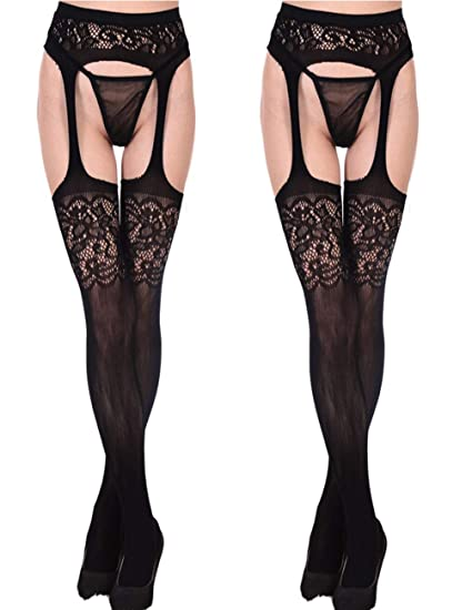 022b473480e Amazon.com  Buauty Fishnet Crotchless Pantyhose Black Sheer Tights Garter  Hosiery for Women  Clothing
