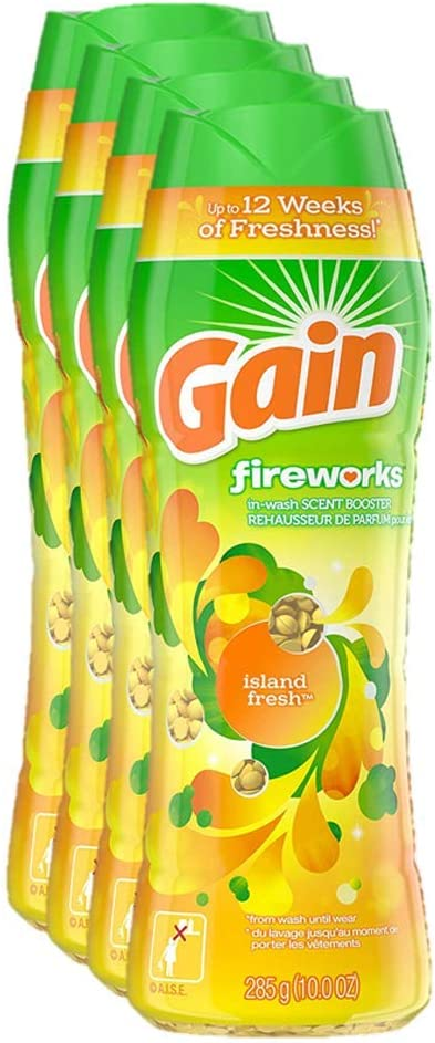 Gain Fireworks in-wash Scent Booster Beads, Island Fresh, 10 Ounce, 4 Count