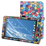 """Insignia NS-P08A7100 Case,Mama Mouth PU Leather Folio 2-folding Stand Cover with Stylus Holder for 8"""" Insignia Flex NS-P08A7100 Andriod 6.0 Tablet 2016,Stained Glass"""