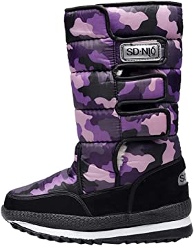Camouflage Ladies Fur Fleece Lined Ankle Winter Warm Women Boots Shoes Sizes UK