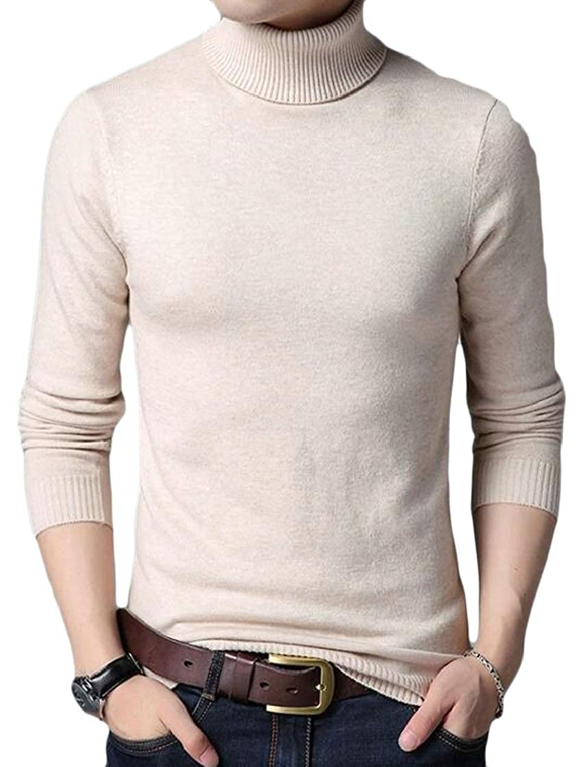 M/&S/&W Mens Autumn Solid High Neck Slim Knitted Pullover Jumper Sweaters Beige XS