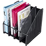 Magazine File Holder, 4-Section Metal Durable Sturdy Document Book Desk Organizer for Office Warehouse Home, Mesh Box…