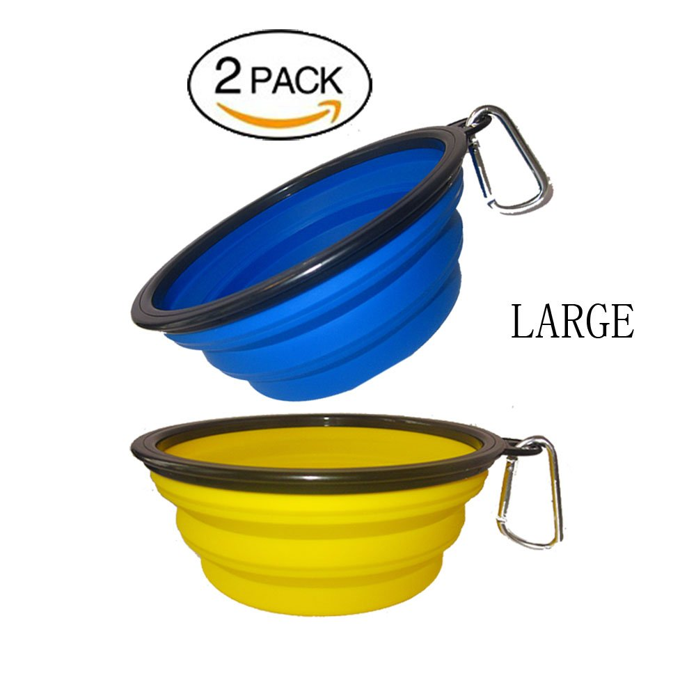 Menghu Collapsible Silicone Bowl Expandable Cup Dish for Pet Dog Cat Food Water Feeding Foldable Portable Travel Food-Grade Safe With Carabiner Clip 2-Pack (L, YELLOW+BLUE)
