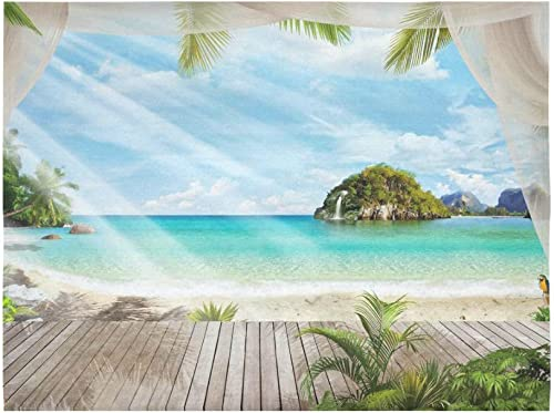INTERESTPRINT Tropical Seascape Wall Art Home Decor, Ocean Island Paradise Beach with The Palm Tree Tapestry Wall Hanging Art Sets 80 X 60 Inches