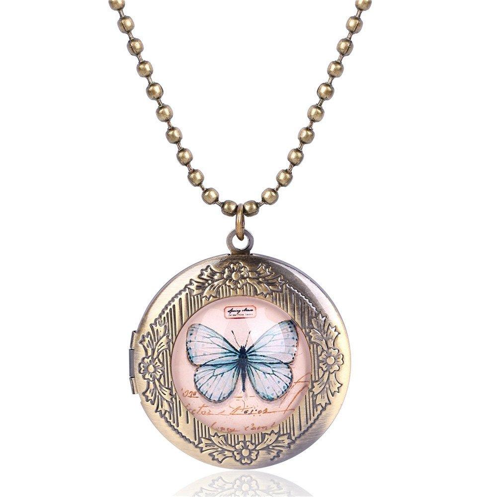 Mrsrui Pink Butterfly Photo Locket Necklace Bronze Tone Gift For Women Girl Kids by Mrsrui