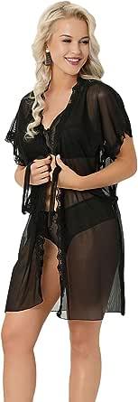 Nessa Elif Women's Black Kimono