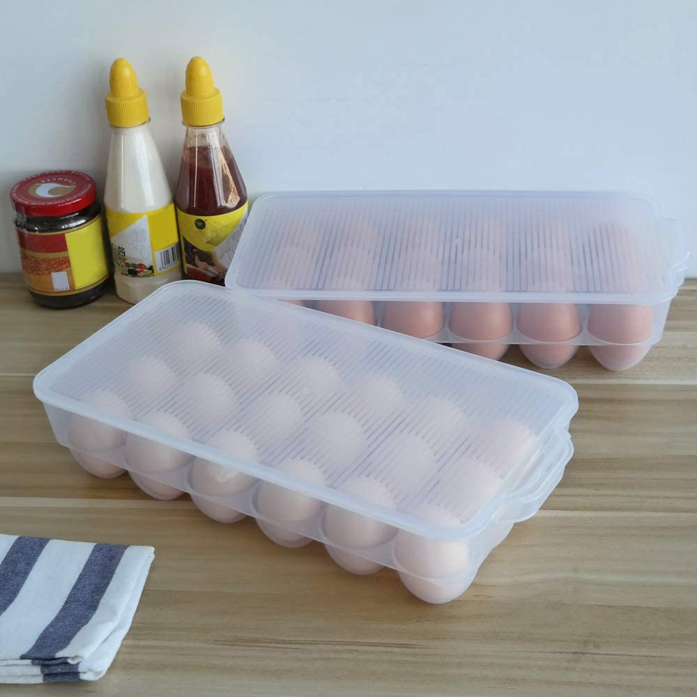 Clear DynkoNA Set of 2 Egg Tray Egg Holder 18 Grids Eggs Slots Storage Box with Lid
