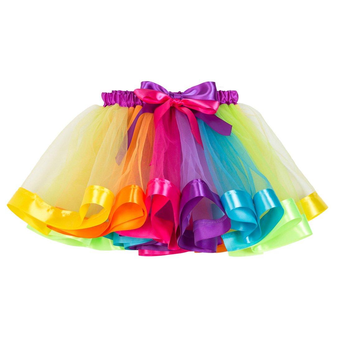 NEXLOMOS Girls Colorful Rainbow Layered Ribbon Tiered Ballet Tutu Skirt
