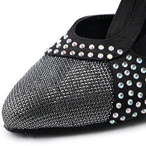 Miyoopark Dames T-strap Kristallen Satijn Trendy Latin Salsa Dansschoenen Zwart-7.5cm Hak