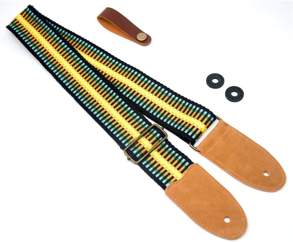 Jaune COOME Sangle de guitare color/ée R/églable Doux Coton Sangle d/épaule avec Fin en cuir su/éd/é pour Guitare Classique Electrique Acoustique et Basse Bouton de sangle et 2 serrures /à sangle