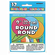 "9"" Round Latex Balloons, Assorted 12ct"