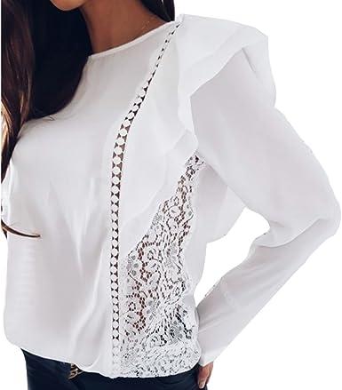 Primavera Gasa Camiseta para Mujer, Moda Color Sólido ...