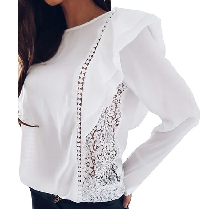 Primavera Gasa Camiseta para Mujer, Moda Color Sólido Patchwork de Encaje Blusa Elegante Cuello Redondo