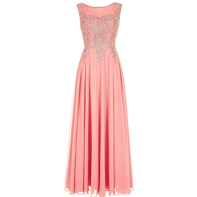 64f397f5493c Lemai Crystals Gold Lace Chiffon A Line Sheer Back Formal Long Prom Evening  Dresses Coral US