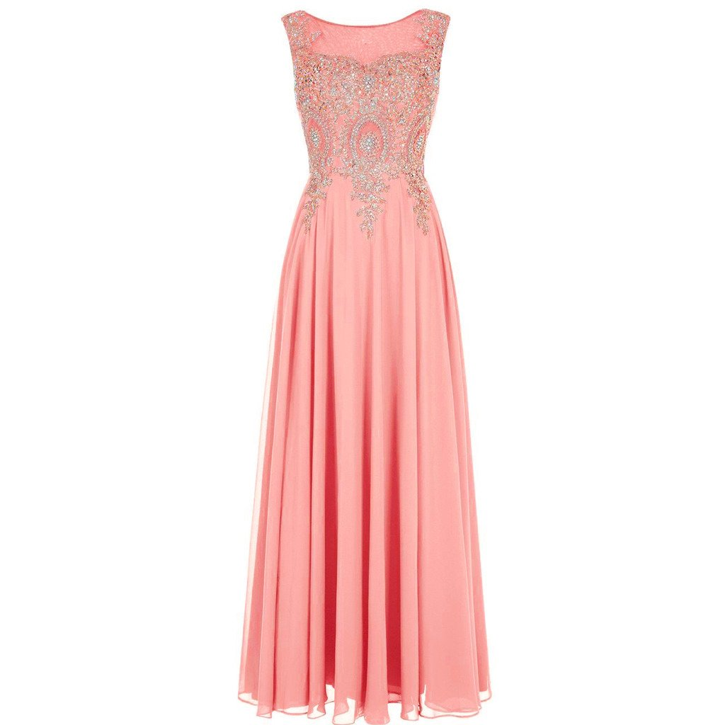 Lemai Crystals Gold Lace Chiffon A Line Sheer Back Formal Long Prom Evening Dresses Coral US 16W