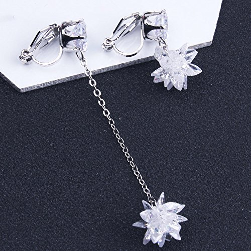 Clip on Earring Backs with Pads Dangle Flower Cubic Zirconia Crystal Women Girls Kids Jewelry Gift Box