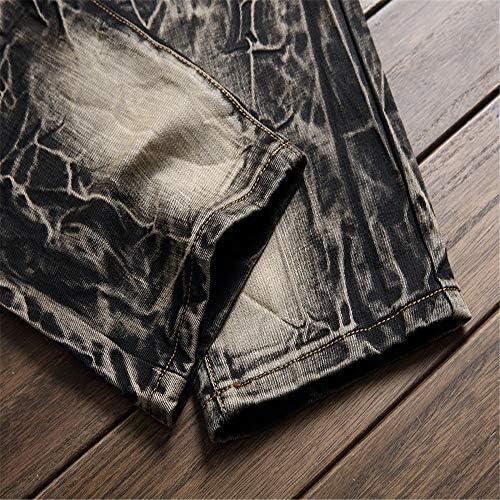 YLiansong Jeans pour Hommes Pantalon Jeans Moto Retro en Jean déchiré déchiré pour Hommes vêtements de Travail décontractés, Usage Quotidien (Taille : 40 2/3 EU)