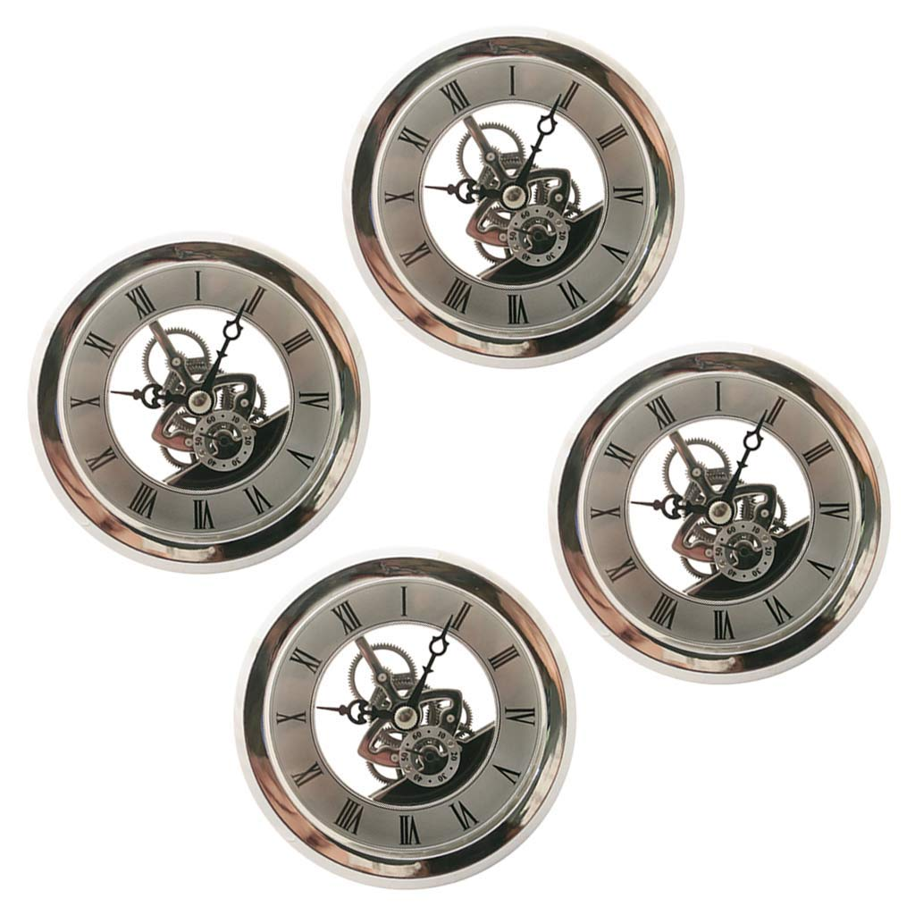Fityle 4 Pieces Clear Skeleton Insert Clock Movement Quartz Battery Fit Up 91mm Silver Roman Dial by Fityle (Image #1)