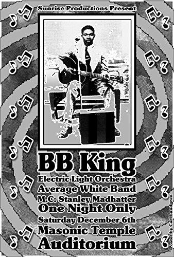 Poster Bb (BB KING E.L.O. & A.W.B w/Stanley the Madhatter MC 1975 Concert Poster @ the Masonic Temple Detroit 19