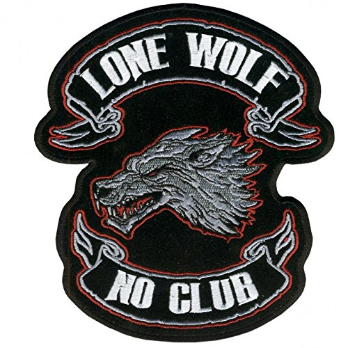 Hot Leathers, LONE WOLF, NO CLUB, Iron-On / Saw-On Rayon PATCH - 13