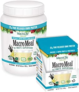 MacroMeal Omni Superfood Powder On-The-Go Bundle - Time-Release Protein Blend, Greens, Digestive Enzymes, Fiber, Energy Boost, Vanilla 39.5oz tub (28 Servings) +10 Packet Servings