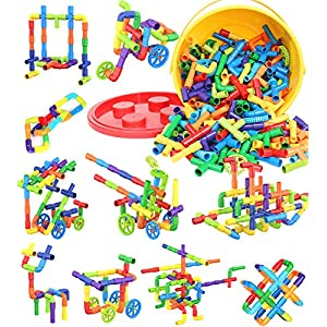 Best Epic Trends 61dSbxKaHnL._SS300_ Building Blocks Kids Educational Toys Creative STEM Tube Locks Construction Kit Pipe Tube Building Sets Preschool…