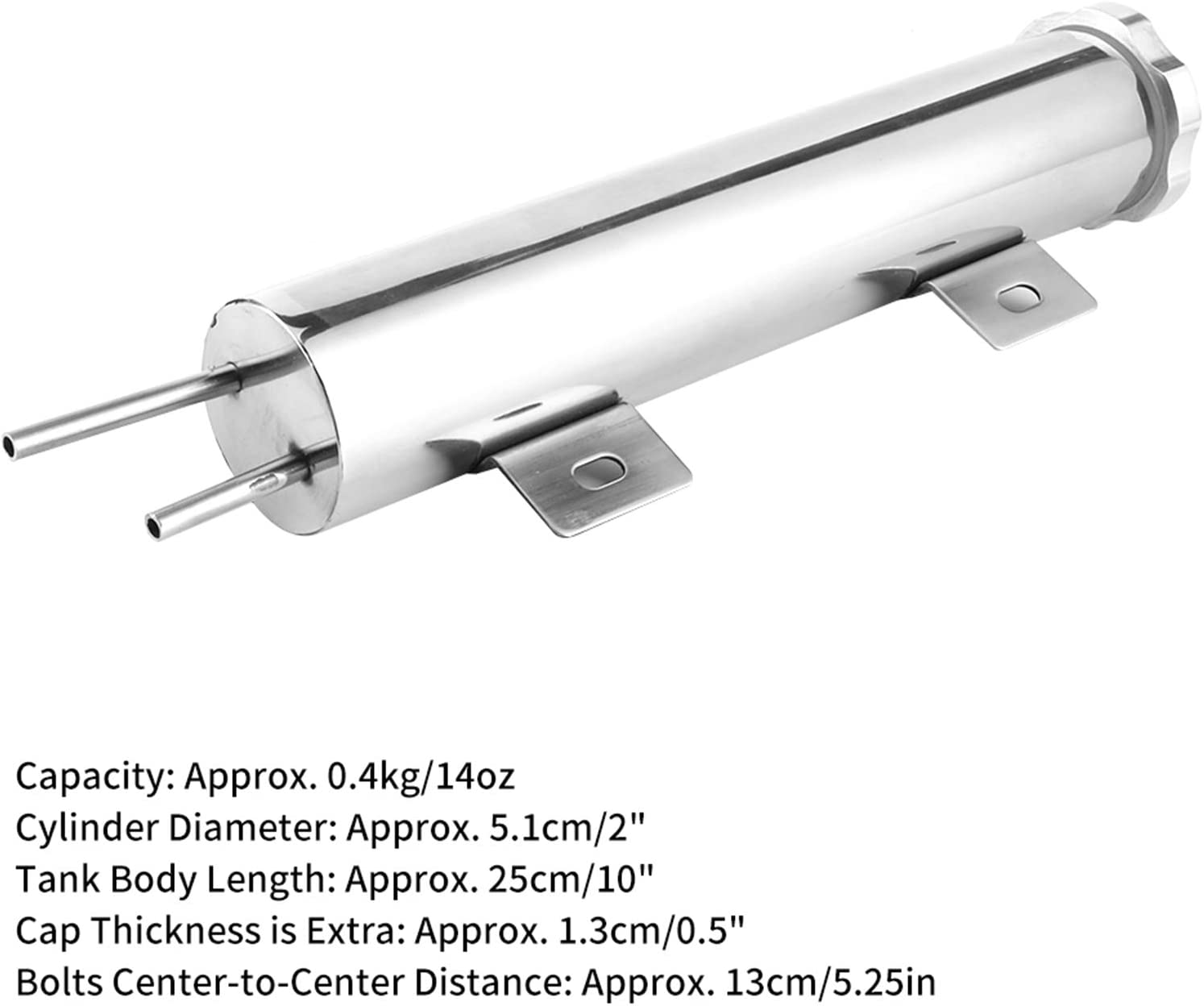 Gorgeri 2x10in Overflow Tank Can Polished Stainless Steel Coolant Radiator 14oz Fit for GM Engine Spill Tank