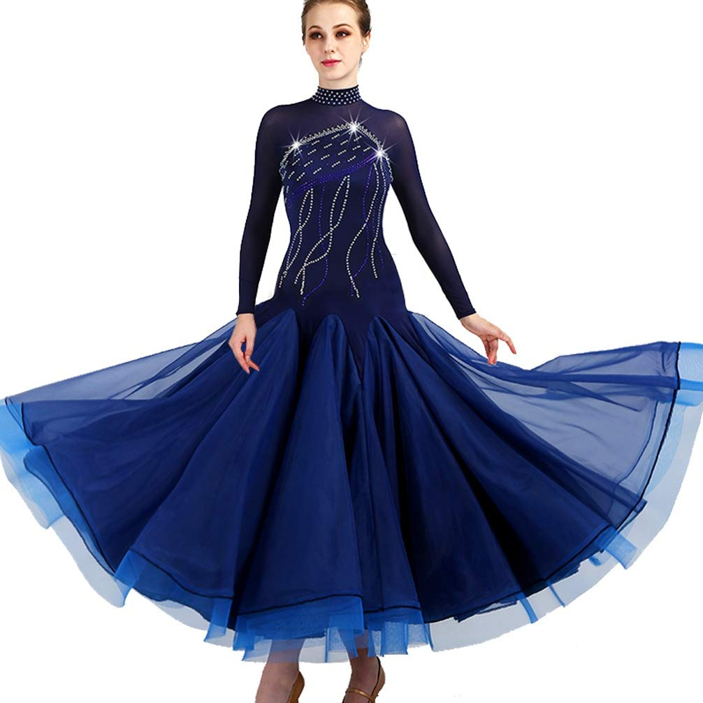 NAVY L Women Standard Ballroom Dance Competition Dresses Royal bluee Costumes For Women Tango Waltz Modern Dance Dress With Rhinestone Plus Size