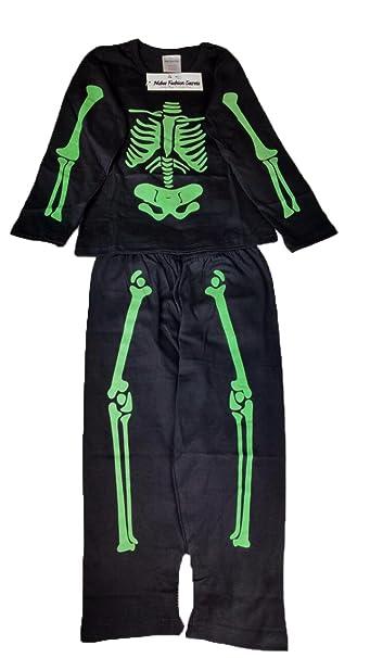 Halloween especial skeleon pijama brilla en la oscuridad niños niñas 2 – 10 años negro negro