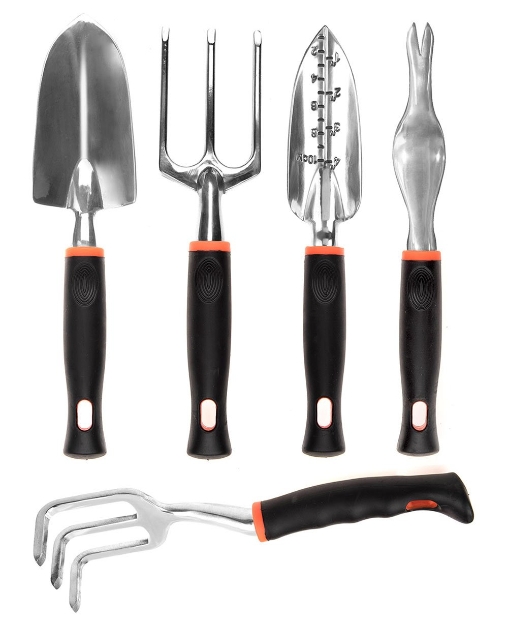 CIELCERA 5-Piece Gardening Tool Set with Gift Box, Ideal Gardening Gift Includes Garden Trowel, Transplanting Trowel, Cultivator, Garden Fork, and Weeder, The Right Partner for Your Gardening