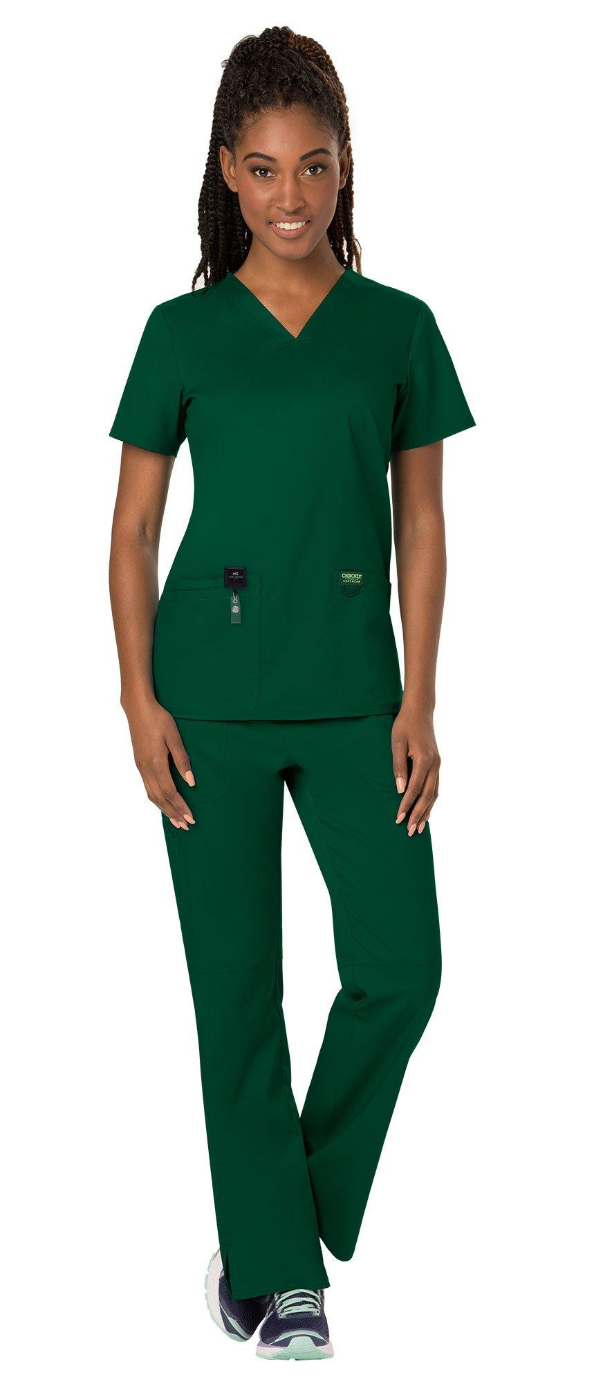 Cherokee Workwear Revolution Women's Medical Uniforms Scrubs Set Bundle - WW620 V-Neck Scrub Top & WW110 Elastic Waist Scrub Pants & MS Badge Reel (Hunter Green - XX-Large/XXL Tall)