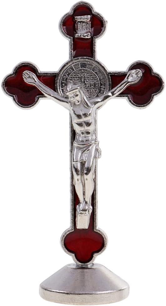 3.1 inch Metal Crucifix Model Jesus Small Statue, Home Chapel Decorations, Car Dashboard Ornament, Christian Amulet