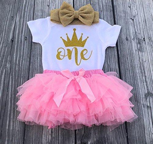 7d7fcdb4ed Amazon.com  First birthday outfit - Cake smash outfit - First birthday girl  - birthday bodysuit - Glitter headband - Pink tutu  Handmade