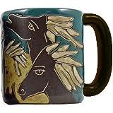 Mara Stoneware Collection - 16 Ounce Ceramic Coffee/Tea Cup Collectible Dinner Mugs - Mexican Pottery Horse Design