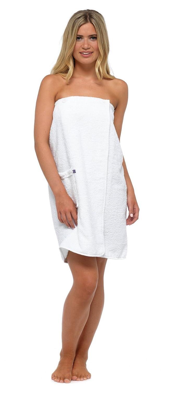 S-M in spugna 100/% cotone White pareo da spiaggia da donna Lora Dora taglia da S a L accappatoio avvolgente asciugamano da bagno