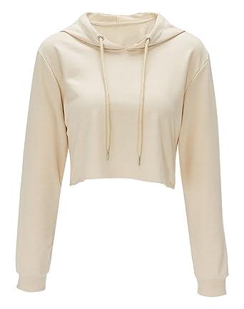 Bigood Sweat-Shirt Court Femme Pull Coton Manche Longue Veste à Capuche Top  Crop Casual 879cd5fc741b