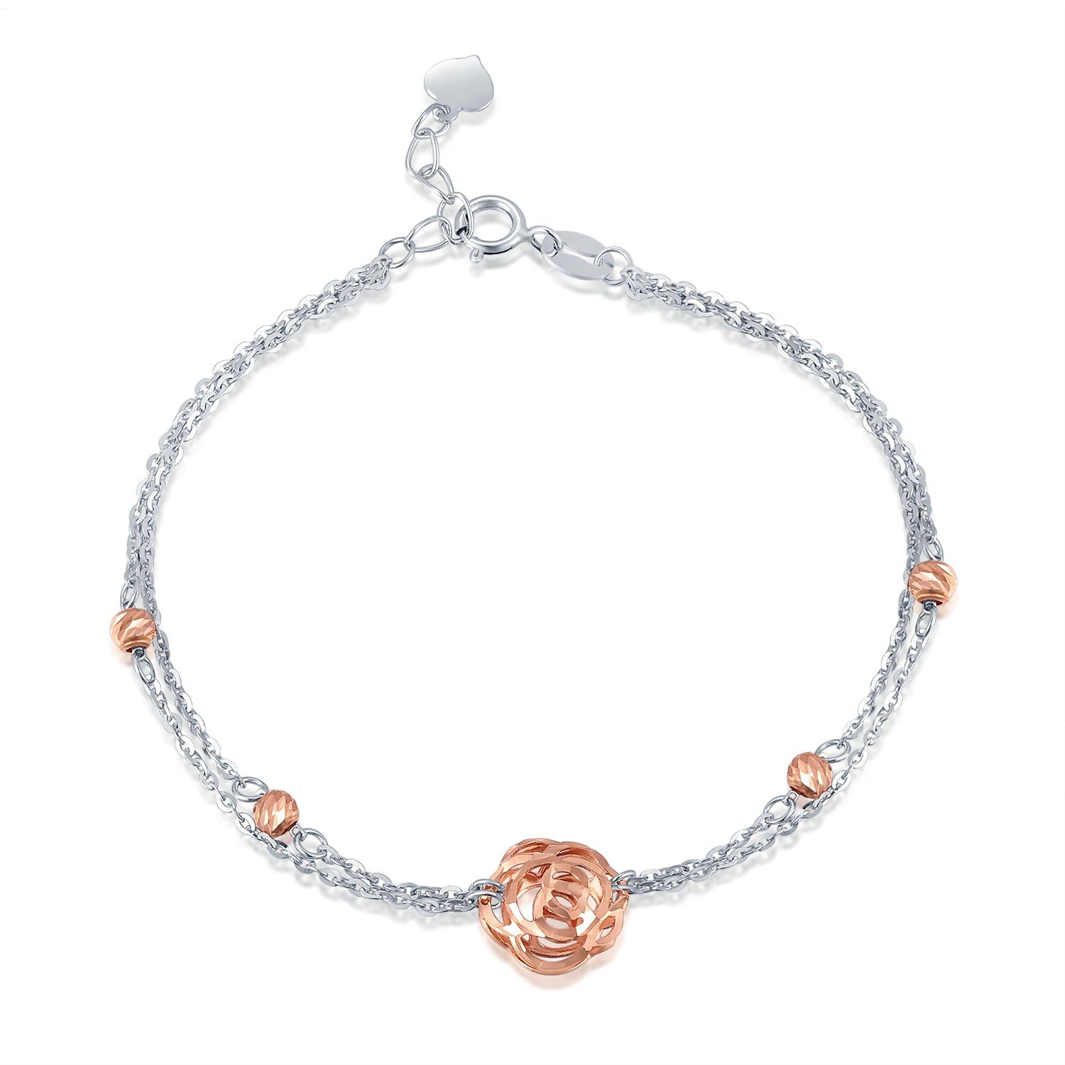 MaBelle 14K Rose and White Gold Diamond Cut Rose Flower Beaded Double Chain Bracelet (6.5'')